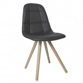 4 sillas nordicas negras asiento acolchado