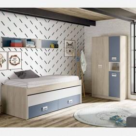 Pack muebles juveniles azul Lims con somieres 90x190