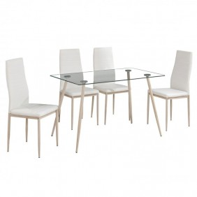 Pack mesa cristal + 4 sillas color blanco comedor Asper I