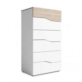 Comoda Asimetric 6 cajones color blanco y sable 62x41x112 cm