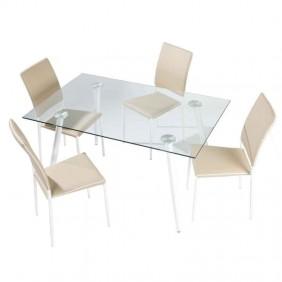 Pack mesa cristal Aia + 4 sillas Aran