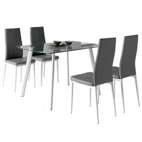 Pack mesa cristal + 4 sillas Glass