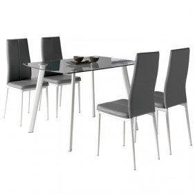 Pack mesa cristal + 4 sillas Glass