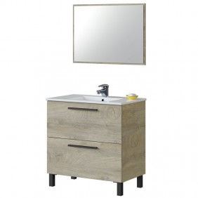 Mueble baño Athena y espejo roble 80x45 LAVAMANOS OPCIONAL