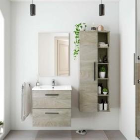 Pack mueble baño, espejo, lavabo y columna color roble Alaska