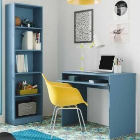 Pack mesa escritorio y librería I-Joy juvenil color azul