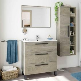 Pack mueble baño con espejo y columna (lavabo incluido)