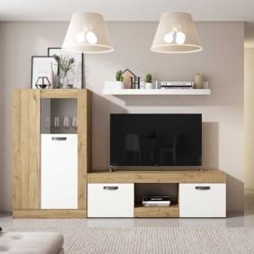 Mueble Argos salón comedor color blanco mate y naturale