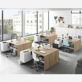 Pack muebles despacho 8 mesas 4 armarios blanco y canadian
