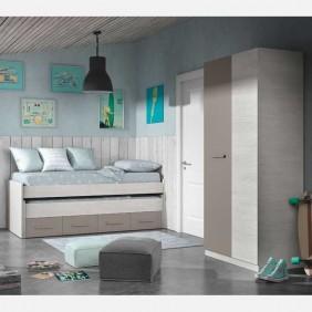 Pack dormitorio juvenil unisex cama nido armario somier incluidos