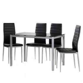 Pack mesa de cristal + 4 sillas polipiel Irina color negro
