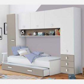 Pack dormitorio infantil juvenil Tidy color blanco y arcilla