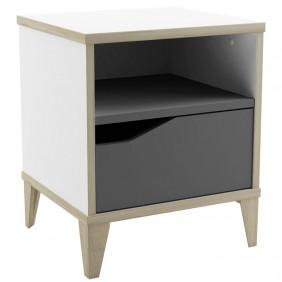 Mesita de noche Genius 1 cajón blanco y gris 44x37x33 cm