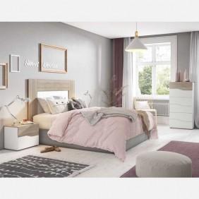 Habitación matrimonio completo color blanco y sable 150 cm