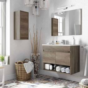 Pack Mueble baño con espejo y armario auxiliar color nordik