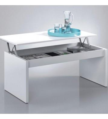 Mesa o mesita de centro elevable. Color blanco brillo