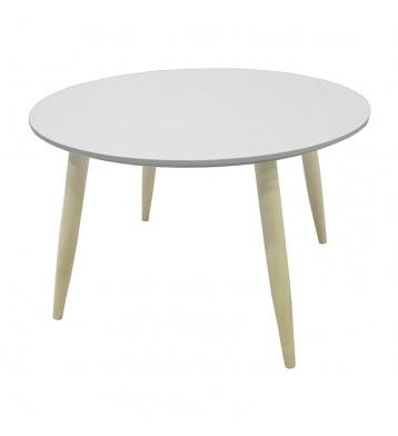 Mesa de centro o auxiliar retro redonda color blanco mate