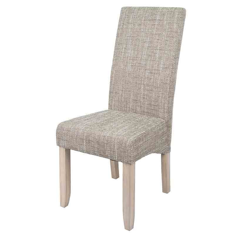 Pack 2 sillas altas para comedor tapizadas en tela arena y estructura en madera de pino