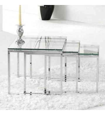 Mesa de centro nido cristal rectangular