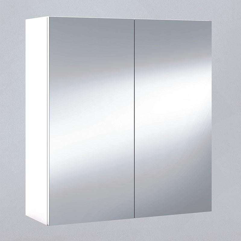 Pack 2 Estanterías + Armario con Espejo Blanco Brillo