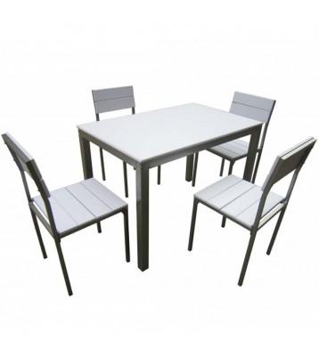 Conjunto Xobe de mesa+4 sillas en blanco y gris