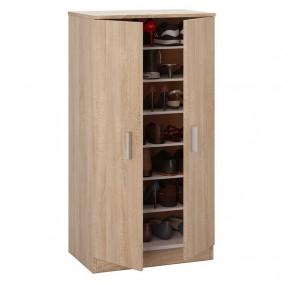 Armario zapatero con 2 puertas y estantes roble canadian 108x55x36cm
