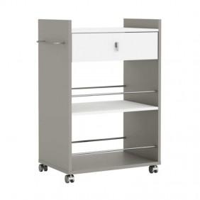 Mueble para microondas en color blanco y basalto con ruedas