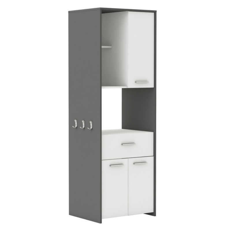 Mueble alto de cocina microondas color blanco y gris grafito 180x60 cm