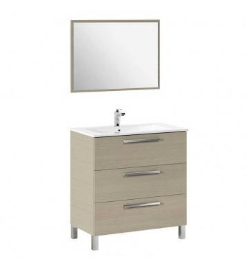 Mueble de baño, lavamanos y espejo. Roble