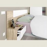 Pack cabezal + 2 mesitas color roble canadian y blanco 95x247x38 cm