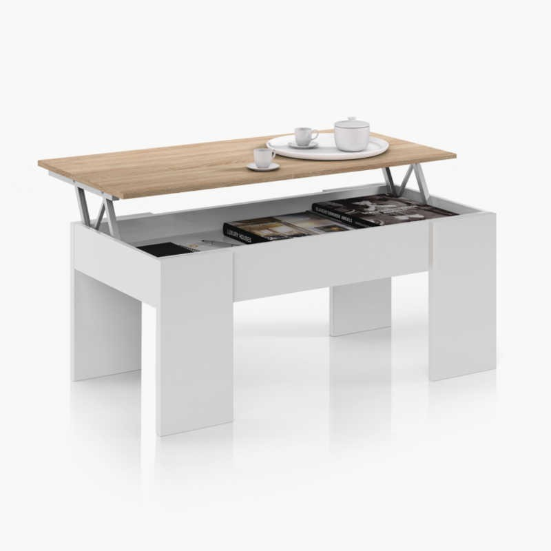 Mesa de centro elevable color roble canadian y blanco artik 43x102x50 cm
