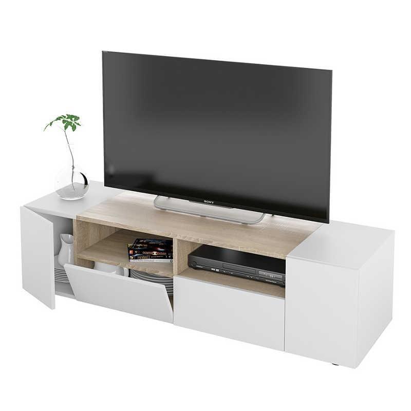 Mueble TV color blanco artik y roble canadian 138 cm