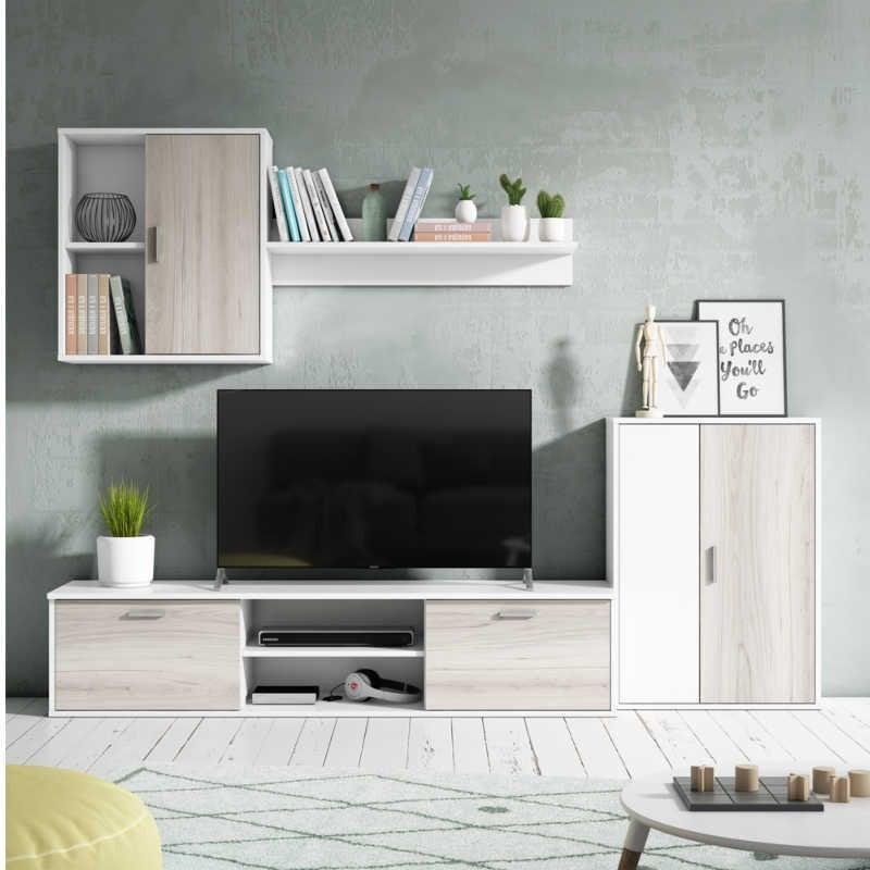 Mueble salón comedor Visby en color blanco y shamal 180x220x38 cm
