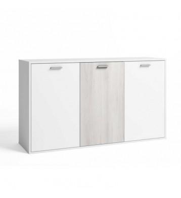Aparador o mueble auxiliar Visby 3 puertas en color blanco y shamal 80x140 cm