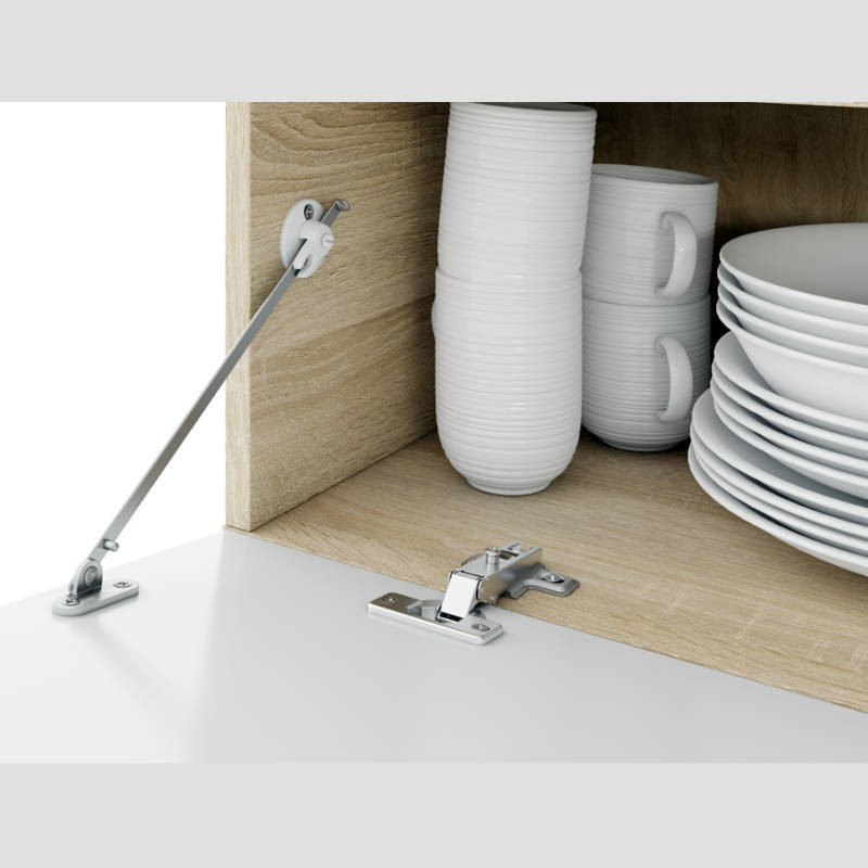 Pack salón comedor mueble mesa extensible y mesa centro elevable roble canadian y blanco
