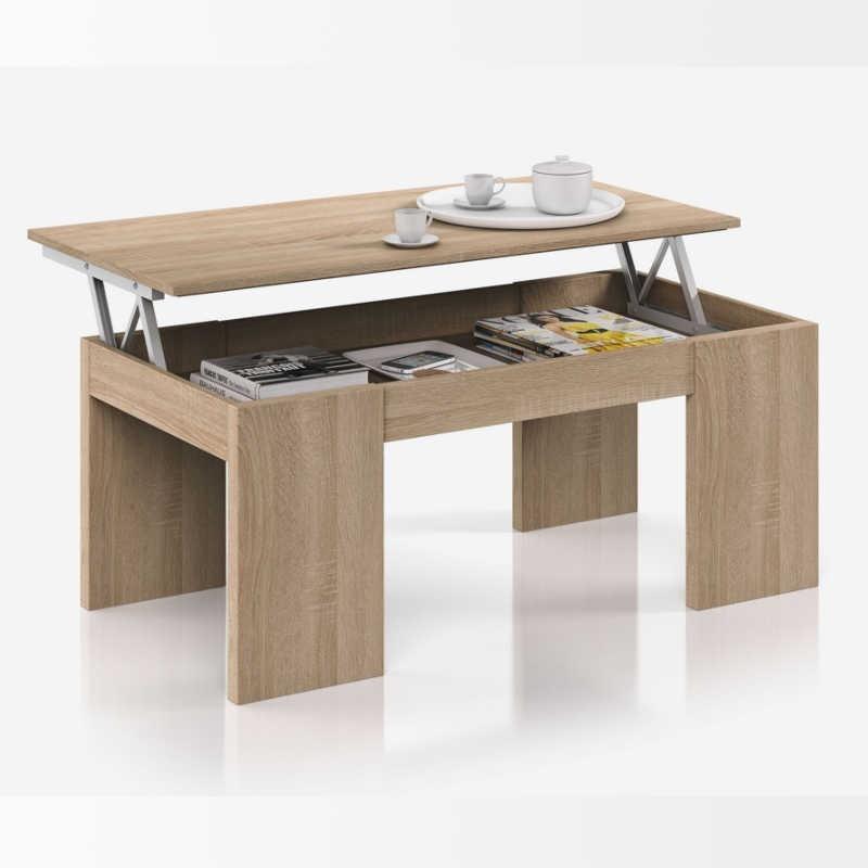 Pack Salon Compuesto Por Mueble Mesa Extensible Y Mesa Centro Elevable