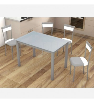 Pack mesa y 4 sillas cocina gris y blanco