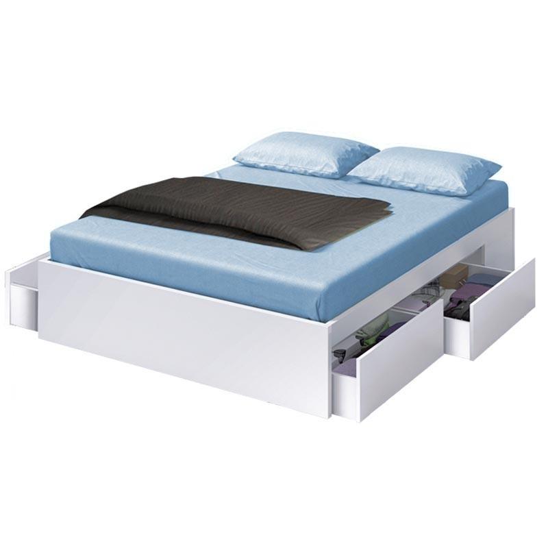 Pack dormitorio matrimonio cama y cabezal con 2 mesitas Blanco/Ceniza