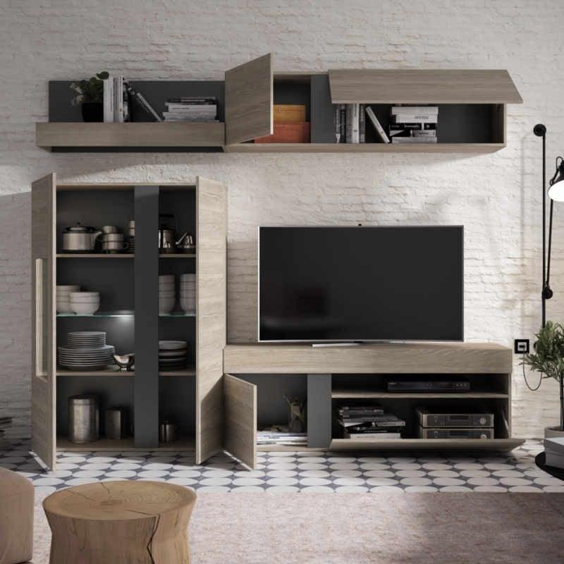 Mueble salón - comedor Upsala con LED en color sable y pizarra 120x250 cm