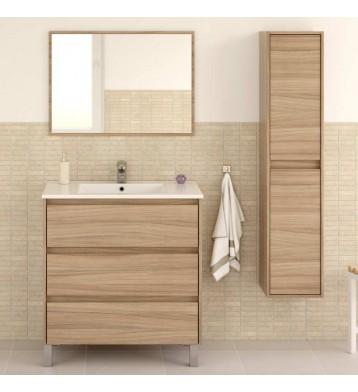 Pack mobiliario baño mueble con lavamanos cerámico y columna color nature