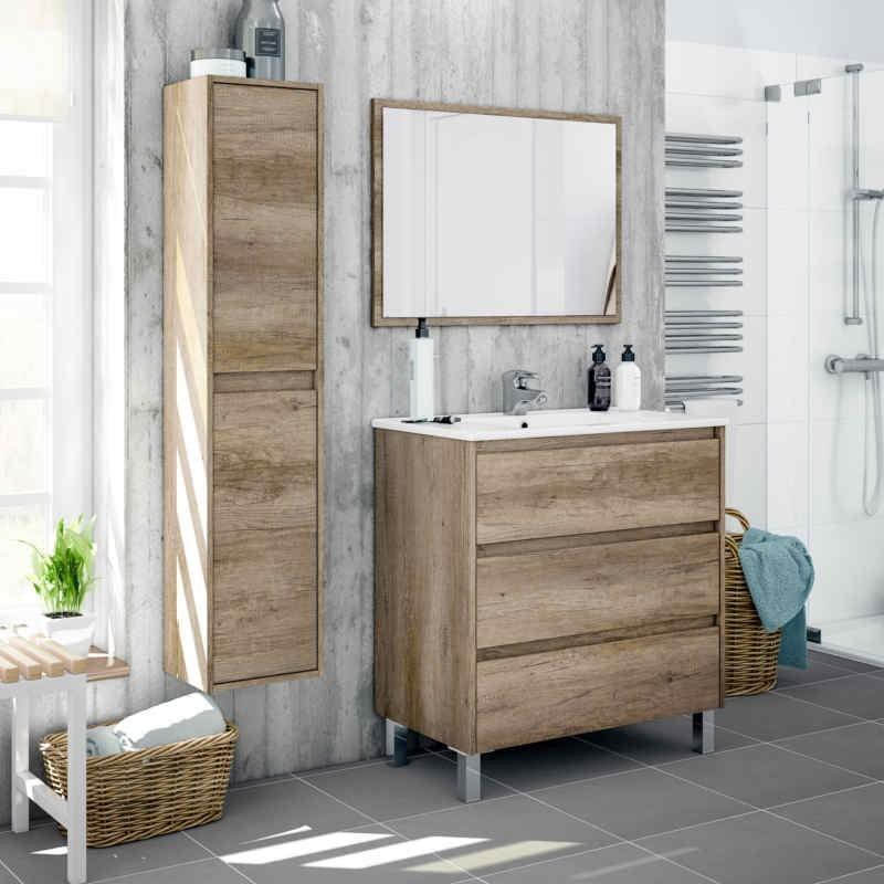 Pack mobiliario baño completo Dakota color nordik CON LAVAMANOS CERÁMICO