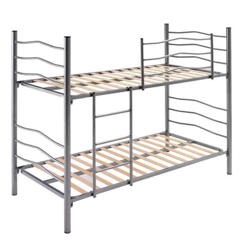 Litera color plata con escalerilla y quitamiedo 90x190 cm