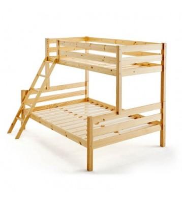 Litera Capricho natural 2 medidas cama baja 135x190 cm cama superior 90x190 cm