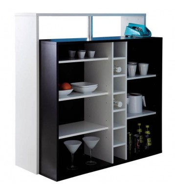 Mueble Bar Blanco y Negro con reposapies 110x48x113 cm