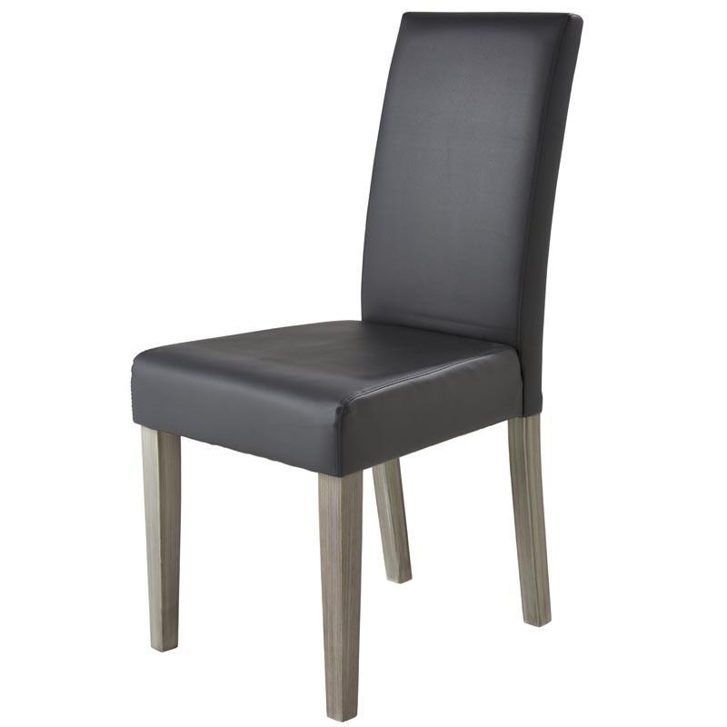 Pack 2 sillas Namur Gris Oscuro Poliuretano y Madera