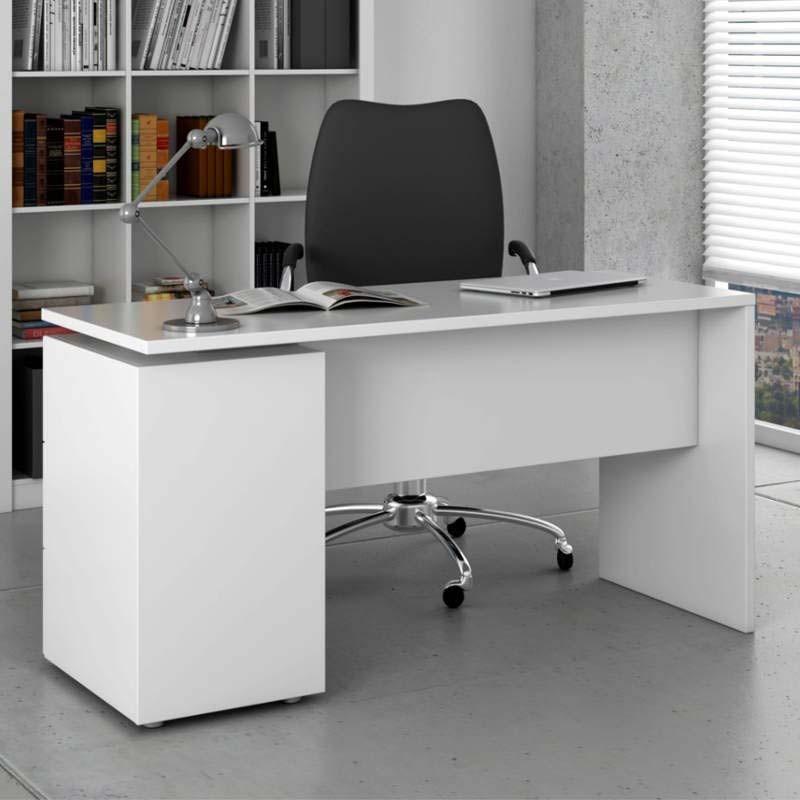 Escritorio color blanco brillo con 3 cajones 138x74x60 cm