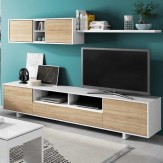 Mueble salon estilo nordico 2 modulos 1 estante 200x41 cm