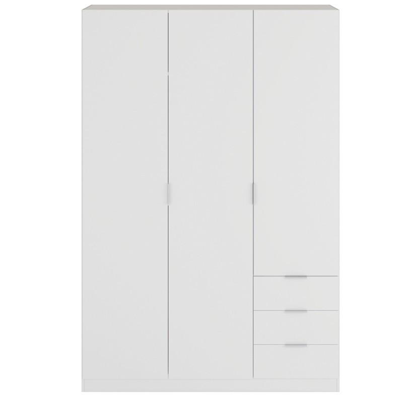 Armario 3 cajones 3 puertas color blanco 121x52x180 cm