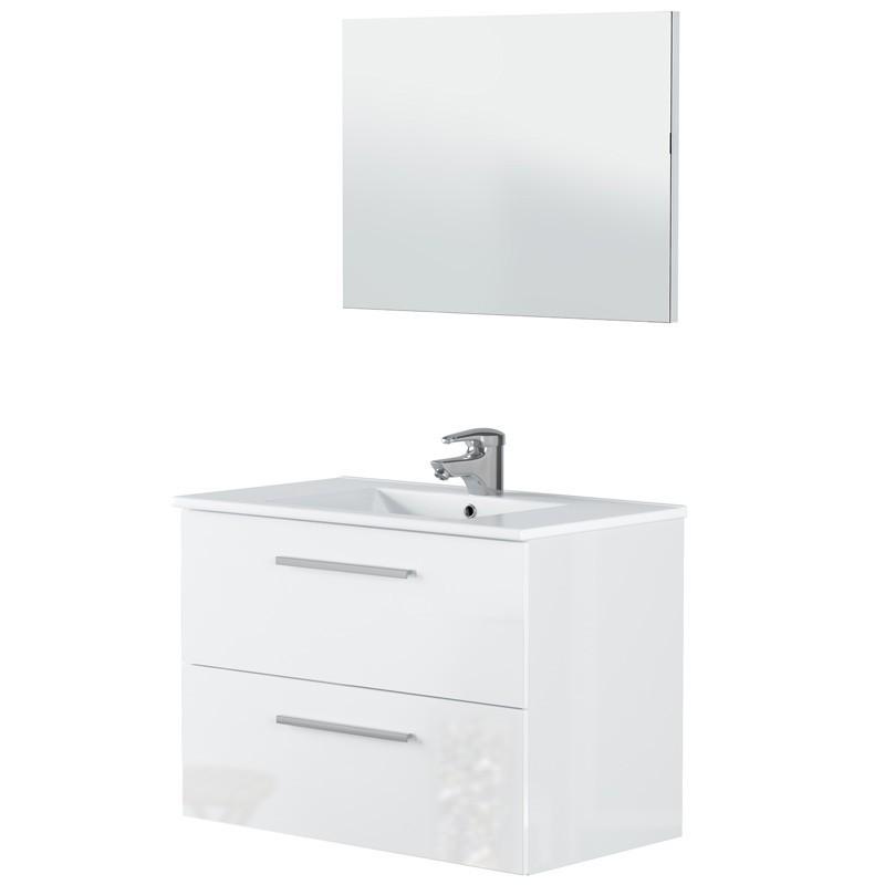 Mueble baño Aruba 2 cajones con espejo blanco 57x80x45 (LAVAMANOS OPCIONAL)
