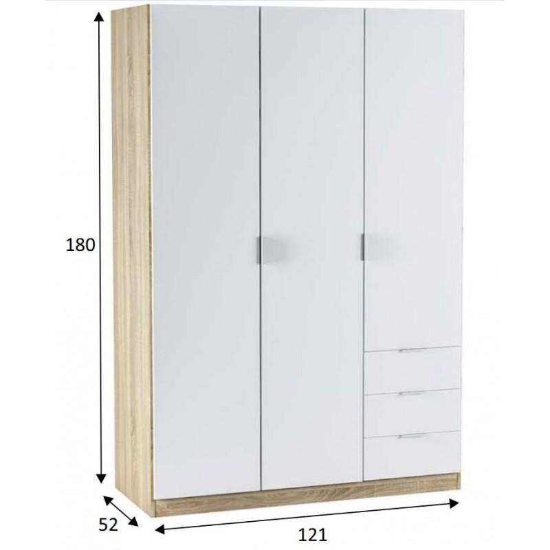 Armario ropero dormitorio 3 puertas 3 cajones 121x180x52 cm